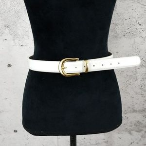 CAPEZIO Vintage Leather Belt White M/L